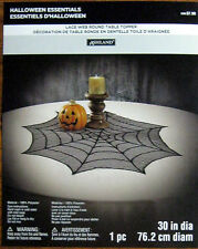 HALLOWEEN BLACK SPIDER WEB LACE TABLE TOPPER