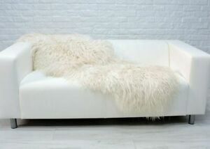 Real ICELANDIC Curly MONGOLIDOUBLE Sheepskin Rug Hide WHITE Sofa FLOOR Cover D01