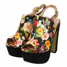 Peep Toes Synthetic Floral Block Heels for Women