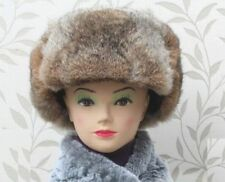 Vintage Tan Rabbit Fur Russian Ushanka Hat With Ear Flaps Bomber Trapper Aviator