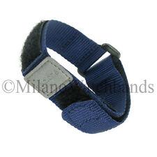 16-20mm Tec One Navy Nylon Hook & Loop Fastener Sports Wrap Watch Band BOGO