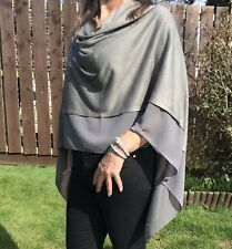 Dark Grey Light Weight Soft Wool Blend Poncho / Cover Up With Chiffon Panel