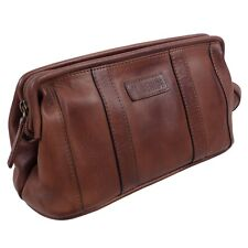 Mens Leather Brown Compact Wash Bag by Prime Hide Travel Toiletries Finest Leath