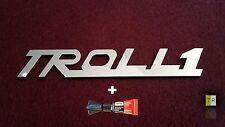 EDELSTAHL Troll1 Schriftzug - Emblem - Logo poliert  für TR 150 IWL ohne Löcher