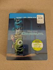 DISNEY PIXAR MONSTERS INC 4 DISC COMBO PACK STEELBOOK BLU-RAY DVD NEW SEALED!