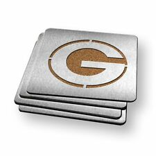 Green Bay Packers NFL Stainless Steel Sportula Boasters - Set of 4 Coasters
