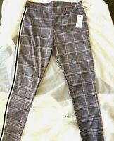 $50 French Laundry Womens 2X Plus Knit Black Red Plaid Stretch Leggings Pants