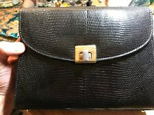 Vintage Genuine Black Lizard Skin Handbag Shoulder Style Bag