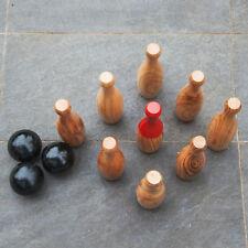 Garden Skittles Wooden Set Outdoor or Indoor Bowling in Carry Bag Garden Games