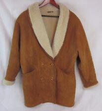 Hide Society Canada Shearling Sheepskin Tan Jacket Coat Suede Women's Size 18
