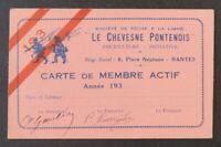 Ancienne carte de membre pêche à la ligne LE CHEVESNE PONTENOIS Nantes 1930