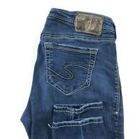 Silver Womens 28X31 Suki High Rise Super Skinny Blue Stretch Jeans