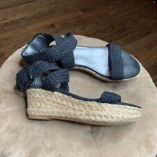 Stuart Weitzman Sz 8M Black Alex Lo Espadrilles Wedge Sandals