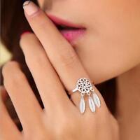 Open Boho Dreamcatcher Ring Feather Charm Pendant Dream Catcher Ring Jewellery