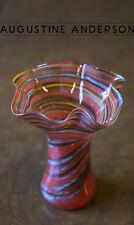 STUNNING VINTAGE STUDIO GLASS ART MURANO GLASS HANDMADE SWIRL VASE WITH WAVY RIM