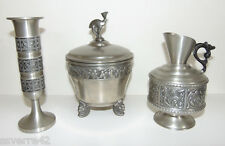 Lot of 3 Norway Pewter Dishes-- Pitcher-- Vase-- Candy Dish