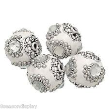 "5PCs Clear Rhinestone Flower Clay Indonesia Beads 21x20mm(7/8""x6/8"")"
