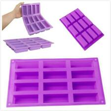 12 Cavity Rectangle Bar Soap Baking Ice Mold Silicone Mould Tray Home Craft W