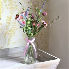 Artificial Mixed Meadow Flowers Arrangement in Glass Bottle Vase Dispaly H40cm