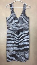 BCBG Maxazeira Dress Brown Ivory Abstract Stripe Print Empire Cotton Blend Sz 10