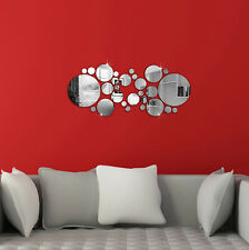 30x Circle Mirror Shape Silver Removable Decal Vinyl Art Wall Sticker Home Decor