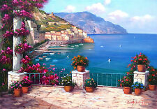 BIG ITALIAN CANVAS PAINTING TERRACE ON THE SEA OF AMALFI OIL E.DI MICHELE ITALY