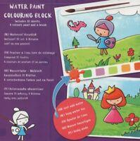 WATER PAINT-COLOURING BOOK-Wasserfarben-Malblock für Kinder+Pinsel & Farben #973