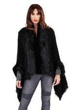Caniche noir fausse fourrure poncho cape manteau col fourrure wrap & cuff détail taille unique