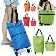 Foldable Shopping Bags With 2 Wheels Reusable Trolley Cart Large Storage Handbag
