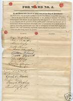 ANTIQUE 1830s TEMPERANCE MVMNT LIQUOR CRIME PETITION 14 SIGNATURES PROVIDENCE RI
