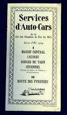 Brochure Cie Chemin de Fer du Midi. Services d'Auto-Cars. Massif Central. 1929