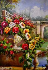 "BEAUTIFUL Oil Painting on Stretched Canvas 24""x 36""- Floral Bridge Landscape"