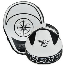 VELO Smartie Leather Curved Focus Pads Hook and Jab Boxing Muay Thai Mitts White