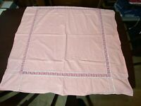 """Vintage Pink Tablecloth Cutter Unfinished Scrolls 46.5"""" x 45"""""""