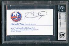 Charles Wang signed autograph auto NY Islanders Business Card BAS Slabbed
