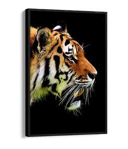 TIGER HEAD -FLOAT EFFECT CANVAS WALL ART PIC PRINT- BLACK