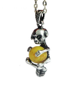 Silver Plated Skeleton Skull Butterscotch Baltic Amber Pendant