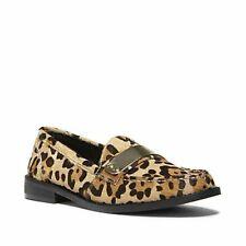 STEVE MADDEN WALLACE Calf Hair Leopard Loafer Shoes Flats Womens 8 Mens 7 Gold