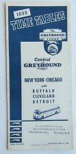 Central Greyhound Bus Lines Timetable 1944 New York- Chicago via Buffalo, Clev