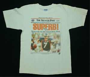 Rare Vintage Denver Broncos Denver Post 1998 SB Champs T Shirt 90s Elway Davis L