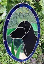 New StainedGLASS blue rim window suncatcher Black Lab Labrador free shipping