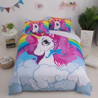 Cartoon Rainbow Unicorn Bedding Set Kids Duvet/Comforter Cover Twin Queen Size