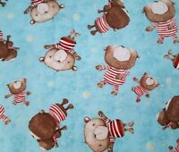 Shine Bright BTY Stacey Yakula Quilting Treasure Tossed Teddy Bears on Blue