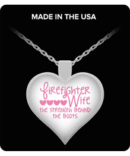 Firefighter Wife Pink Strength Behind Boots Silver Plated Heart Pendant Necklace