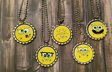 10 SpongeBob inspired Bottle Cap Necklaces Party Favors Gifts