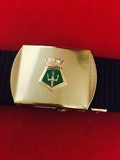 HMS Neptune Military Style Black Nylon Webbing Belt with Bright Brass Buckle