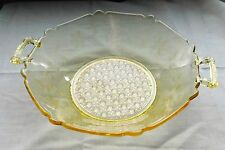 Lancaster Company Yellow Topaz Button Cane Glass Serving Bowl With Etched Design