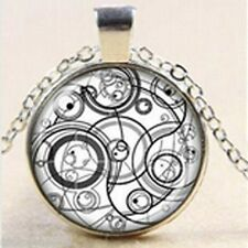"""Dr Who Time Lord Seal, Steampunk Silver / Grey  Necklace Pendant.30"""" chain"""