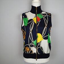 Ralph Lauren Women's sz s Navy Silk Equestrian Chain Print Vest Jackets co