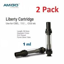 2-Pack Amigo Itsuwa Liberty Glass Vape Cartridge Tank for Thick Oil Co2 510